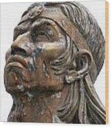 Weathered Statue Of Inca Warrior Wood Print