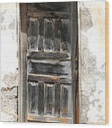 Weathered Wooden Gray Door Wood Print