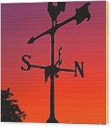 Weathervane At Sunset Wood Print