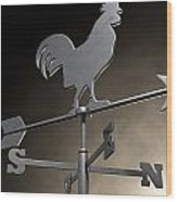 Weathervane Cockerel Isolated Wood Print