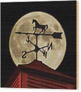 Weathervane Before The Moon Wood Print