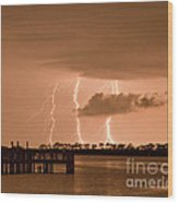 Weaver Park Lightning Wood Print