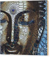 Web Of Dharma - Modern Blue Buddha Art Wood Print