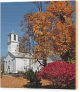 Webster Church On A Fall Day Wood Print