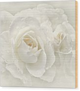 Wedding Day White Roses Wood Print