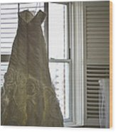 Wedding Dress And Veil By The Window Wood Print
