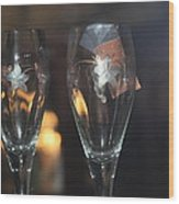 Wedding Glasses Wood Print by Donald Torgerson