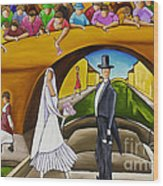 Wedding On Barge Wood Print