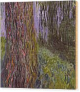 Weeping Willow And The Waterlily Pond Wood Print
