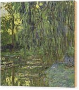 Weeping Willows The Waterlily Pond At Giverny Wood Print by Claude Monet