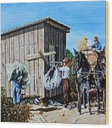 Weighing Cotton In The Field 1930s Wood Print