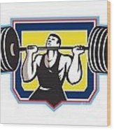 Weightlifter Lifting Heavy Barbell Retro Wood Print
