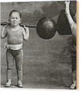 Weightlifting Dwarfism Exhibits Wood Print
