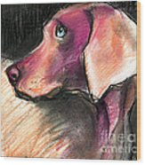 Weimaraner Dog Painting Wood Print
