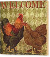 Welcome Rooster-61412 Wood Print