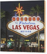 Welcome To Las Vegas Wood Print by Mike McGlothlen