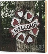 Welcome With Love Wood Print