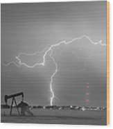 Weld County Dacono Oil Fields Lightning Thunderstorm Bwsc Wood Print