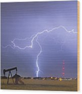 Weld County Dacona Oil Fields Lightning Thunderstorm Wood Print