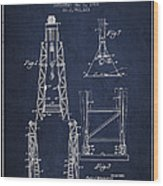 Well Drilling Apparatus Patent From 1960 - Navy Blue Wood Print
