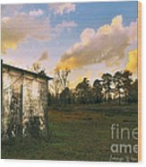 Old Well House And Golden Clouds Wood Print
