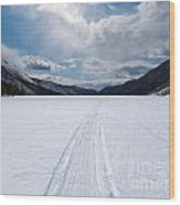 Well Used Winter Trail On Frozen Mountain Lake Wood Print