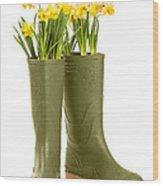 Wellington Boots Wood Print