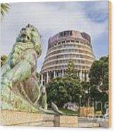 Wellington The Beehive Parliament Buildings New Zealand Wood Print