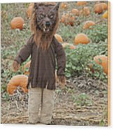 Werewolf In The Pumpkin Patch Wood Print