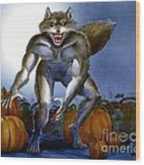 Werewolf With Pumpkins Wood Print