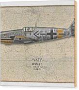 Werner Molders Messerschmitt Bf-109 - Map Background Wood Print by Craig Tinder