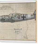Werner Schroer Messerschmitt Bf-109 - Map Background Wood Print