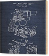 Wesson Hobbs Revolver Patent Drawing From 1899 - Blue Wood Print