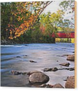 West Cornwall Covered Bridge- Autumn  Wood Print by Thomas Schoeller