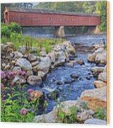 West Cornwall Covered Bridge Summer Wood Print