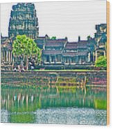 West Gallery From Across Moat In Angkor Wat In Angkor Wat Archeological Park Near Siem Reap-cambodia Wood Print