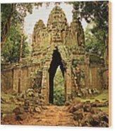 West Gate To Angkor Thom Wood Print