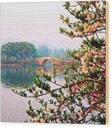 West Lake Blossums Wood Print