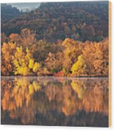 West Lake Winona Orange Stripe Wood Print