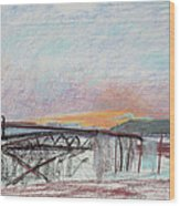 West Oakland Skyline At Sunset Wood Print by Asha Carolyn Young