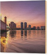 West Palm Beach Skyline At Dusk Wood Print