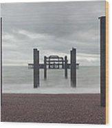 West Pier Skeleton In Brighton Wood Print