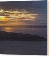 West Seattle Sunset Sunstar Wood Print