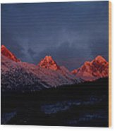 West Side Teton Sunset Wood Print