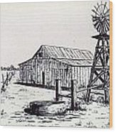 West Texas Windmill Wood Print