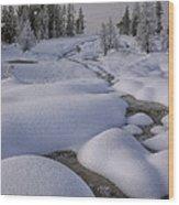 West Thumb Snow Pillows II Wood Print