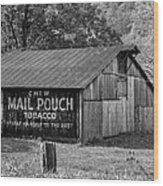 West Virginia Barn Monochrome Wood Print