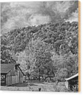 West Virginia Barns Monochrome Wood Print