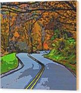 West Virginia Curves 2 Line Art Wood Print