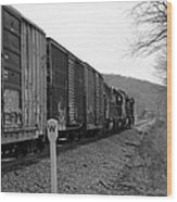 Westbound Train Black And White Wood Print